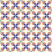 Dark Blue And Orange Abstract Rectangle And Arrow And Circle Shape Seamless Pattern