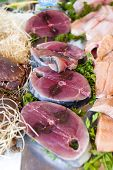 raw fish, market in Nyons, Rhone-Alpes, France