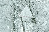 Traffic Sign Covered By Snow