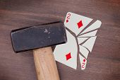 Hammer With A Broken Card, Two Of Diamonds