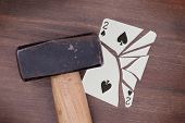 Hammer With A Broken Card, Two Of Spades