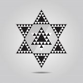 Abstract geometrical triangle tile hexagram icon