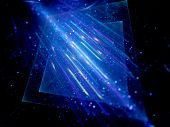 Blue Glowing Squares With Motion Lines And Particles In Space