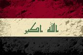 Iraqi flag. Grunge background. Vector illustration