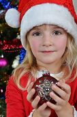 Girl Near Christmas Fir-tree