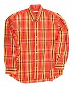 Man's orange cotton plaid shirt