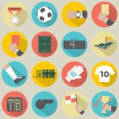 Flat Design Football / Soccer Icons Set.