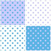 Tile vector pattern set with grey and blue polka dots on white and pastel background