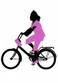 Sport woman with bike on white background