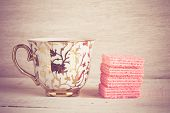 Coffee Cup And Pink Waffles With Filter Effect Retro Vintage Style