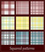 Set Of 9 Plaid Patterns.