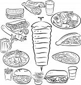 picture of kebab  - Vector illustration of doner kebab collection in line art mode - JPG