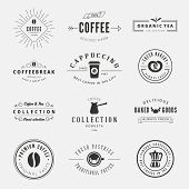 Coffee Retro Vintage Labels Logo design vector typography lettering templates.  Old style elements, business signs, logos, label, badges, stamps and symbols. Coffeeshop, tea, bakery theme.