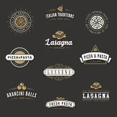 Italian cuisine Retro Vintage Labels Logo design vector typography lettering templates.  Old style elements, business signs, logos, label, badges, stamps and symbols. Pizza, pasta, lasagna theme.