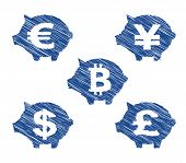 Piggy bank currency icons with hand drawn effect