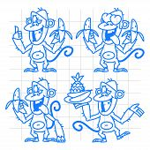 Monkey in various poses doodle