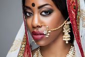 Exotic Indian Bride Dressed Up For Wedding