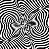 Illusion of wavy rotation movement. Vector art.