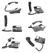 Collection Of Office Phones With The Handset