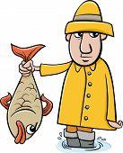 Angler With Fish Cartoon