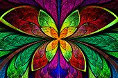 Multicolored Symmetrical Fractal Pattern As Flower Or Butterfly In Stained-glass Window Style. On Bl