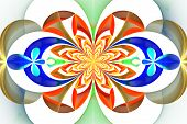 Fabulous Symmetrical Pattern Of The Leaves. Orange And Blue Palette. Computer Generated Graphics.