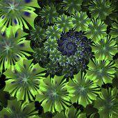 Spiral Flower Background. Green Palette. Computer Generated Graphics.