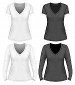 Women's v-neck t-shirt design template short and long sleeve. Vector illustration.