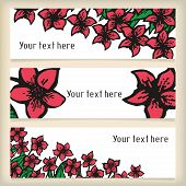 Set of horizontal banners with doodling flowers like narcissus in tattoo style