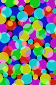 Lots of multicolored overlapping circles background illustration.