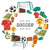 picture of football  - Sports background with soccer football symbols in cartoon style - JPG