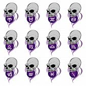 Purple Zodiac Skulls