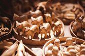 Handmade Wooden Toys Sold On Market