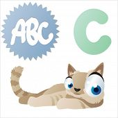 vector animal cartoon comic abc: C is for Cat