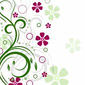 Floral background with green plants and flowers