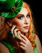 foto of leprechaun hat  - Red hair girl in Saint Patrick - JPG
