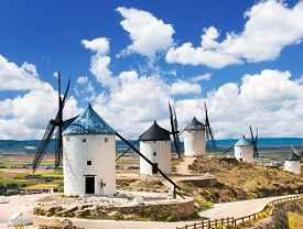 stock photo of windmills  - Group of windmills in Campo de Criptana - JPG