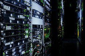 stock photo of cluster  - web network business rack center room enterprise hardware servers mounted computers cluster virtual data - JPG