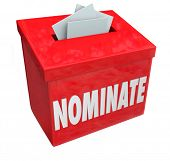 stock photo of suggestive  - Nominate word on a red suggestion box to illustrate submitting an application or candidate for consideration - JPG