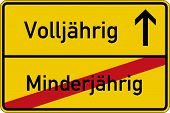 image of underage  - The German words for of age and underage  - JPG