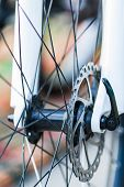 foto of dirt-bike  - Close up part of Mountain Bike brake disc - JPG
