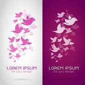 pic of flock seagulls  - Vector image of an bird flock design on white background and purple background Logo Symbol - JPG