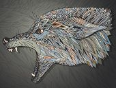 stock photo of werewolf hunter  - Patterned head of the wolf - JPG