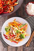 stock photo of chinese wok  - fried vegetable with wok - JPG
