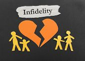 picture of divorce-papers  - Paper family and a broken heart with Infidelity message - JPG