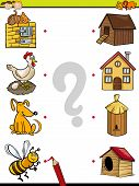 stock photo of brain-teaser  - Cartoon Illustration of Education Element Matching Game for Preschool Children with Animals - JPG