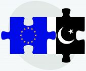 image of pakistani flag  - European Union and Pakistan Flags in puzzle isolated on white background - JPG