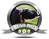 foto of cow head  - Metallic round icon or symbol with head of cow text fresh milk and three daisy flowers - JPG