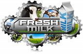 stock photo of milk  - Many metallic gears with cows green pasture cans of milk and white packaging carton of milk - JPG
