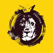 pic of lions-head  - Lion head on yellow background - JPG